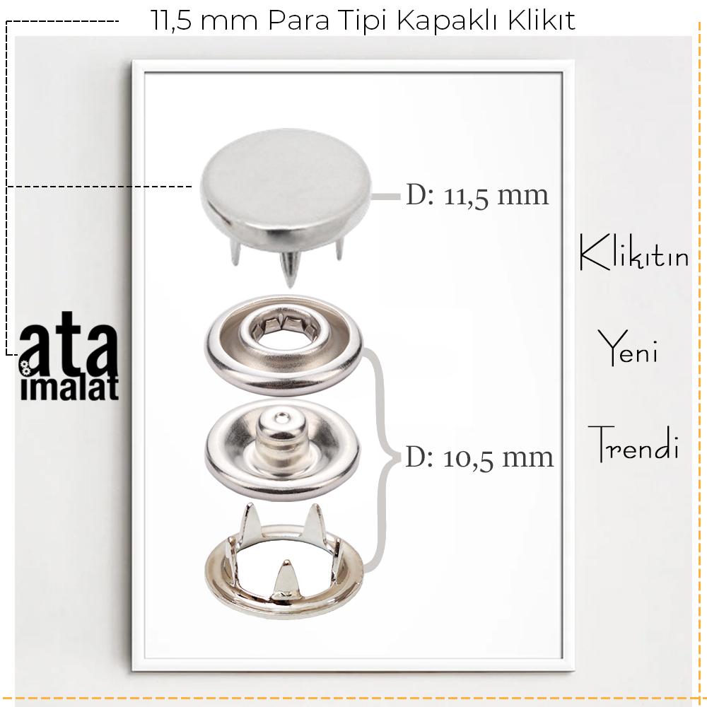 Yeni Üretim - 11,5 mm Para Tipi Kapaklı Klikıt