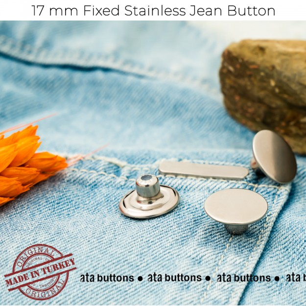 New Production - 17mm Stainless Fixed Jean Button
