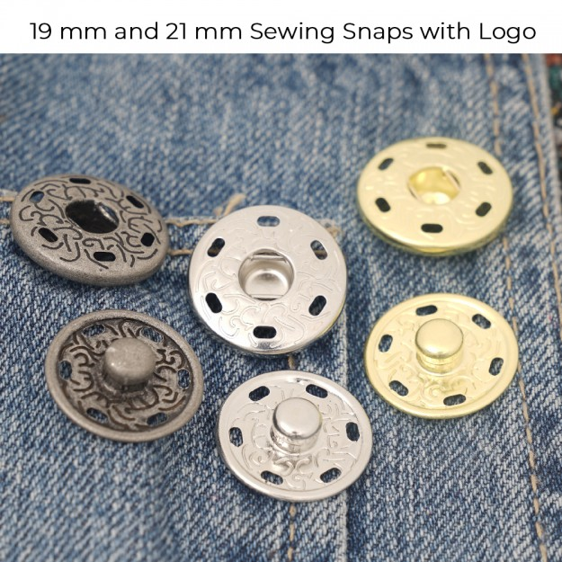 New Production - 19 mm and 21 mm Sewing Snap Button with Logo