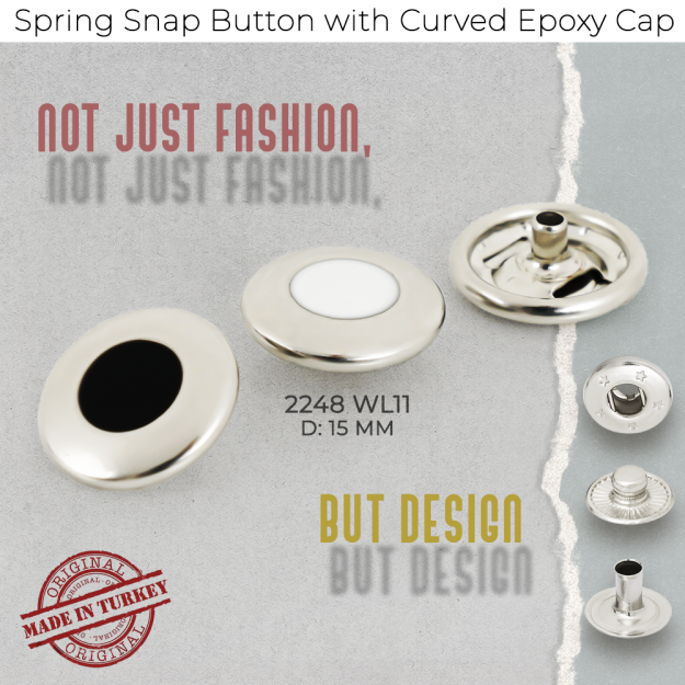 New Production - Spring Snap Button with Curved Flat Top Epoxy Cap