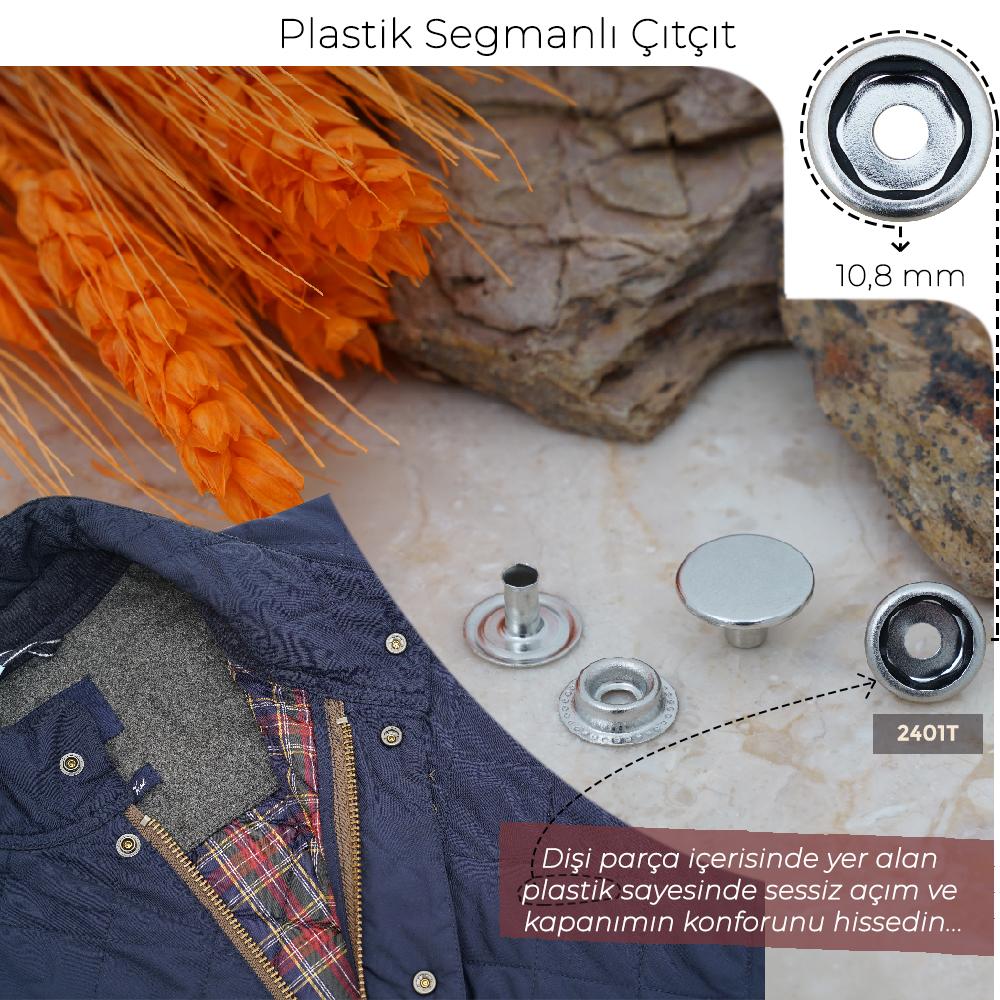 Yeni Üretim - 10,8 mm Plastik  Segmanlı Çıtçıt