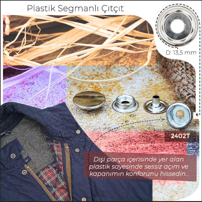 Yeni Üretim - 13,5 mm Plastik  Segmanlı Çıtçıt