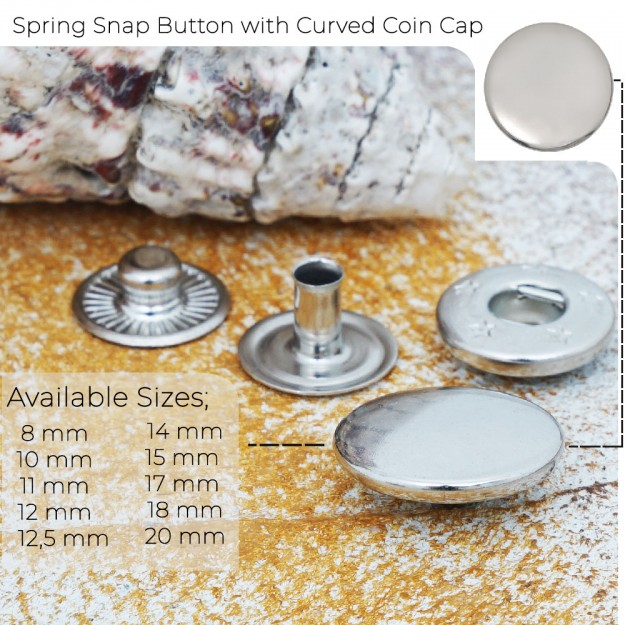 New Production - Spring Snap Button with Curved Coin Cap